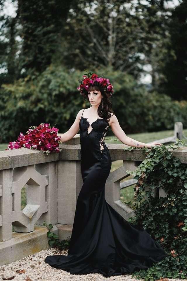 Elegant Gothic Castle Wedding With A Black Wedding Dress