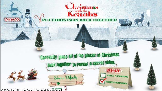 Christmas with the Kranks video jigsaw puzzle game