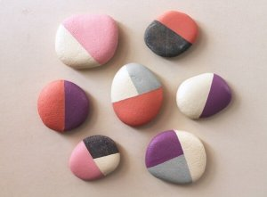 geometric painted rocks