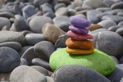 painted beach rocks