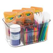 mDesign Art Supplies, Crafts, Crayons and Sewing Organizer Tote - Clear