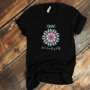 Crazy rock painting lady shirt