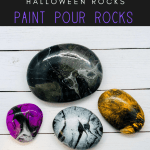 Copy of paint pour 1 rocks pin - Try this Spooky Halloween Paint Pouring on Rocks Activity (2018)