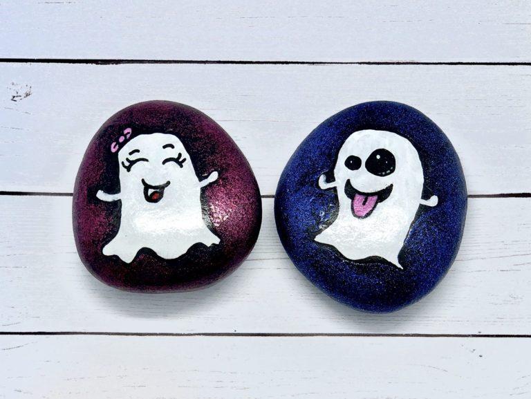Ghost Emoji Rock Painting