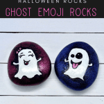 ghost emoji rocks pin - How to make Ghost Emoji Rock Paintings that your kids with love!