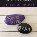 hand lettering on rocks pin - Easy Halloween Hand Lettering Rocks for Beginners