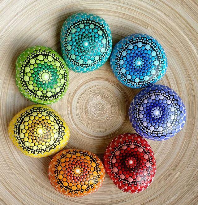rainbow mandala stones
