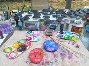 rocks being painted