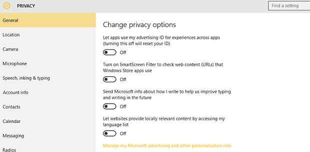 Windows 10's Lack of Privacy