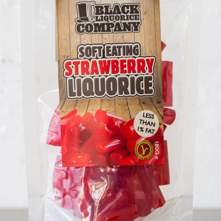 Image of a bag of Soft Strawberry Liquorice. From the Black Liquorice Company. 180g