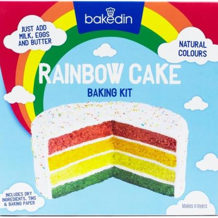 Image of a Rainbow Cake Baking Kit. All dry ingredients included.