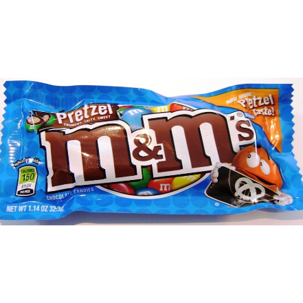 Image of M and M's Pretzel flavour. American Candy.