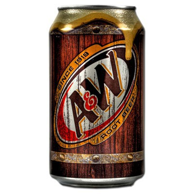 Image of a can of AW Root Beer. American Soda.