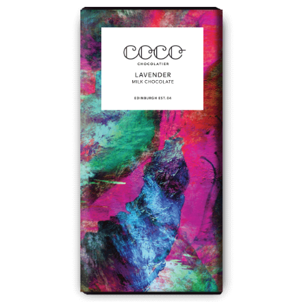 Image of a Lavender Milk Chocolate bar from Coco. A single origin chocolate bar.