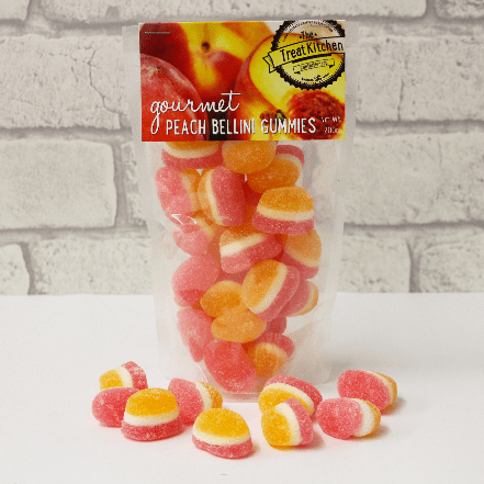 Image of the Peach Bellini Gourmet Gummies pouch. Cocktail themed chewy sweets to share.