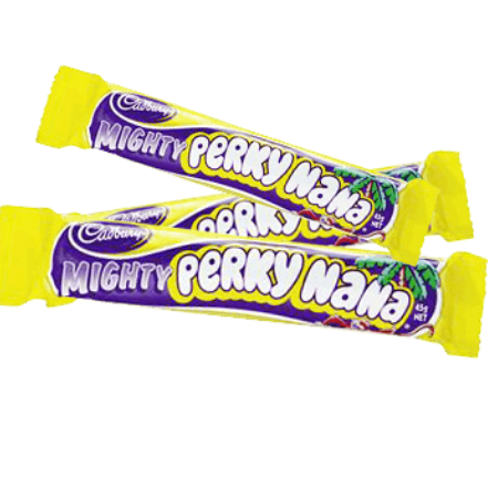 Image of a Mighty Perky Nana chewy bar from Cadbury New Zealand. Chocolate coated chewy banana bar.