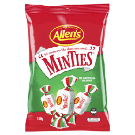 Image of a bag of allen's minties Austalian candy