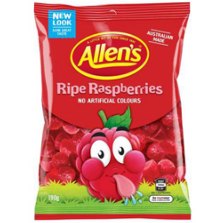 Image of a bag of allen's ripe raspberries from Australia