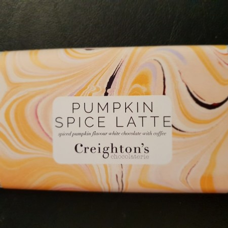 Image of the pumpkin spice latte chocolate bar from Creighton's