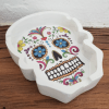 Image of a day of the dead ashtray in white