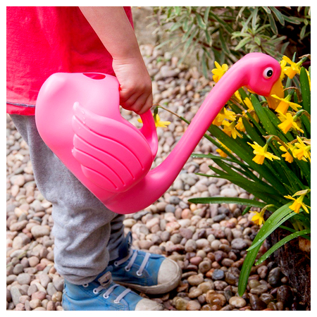 Image of a flamingo watering can