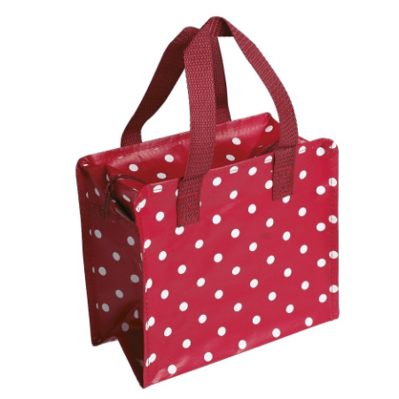 Image of a red and white spotty bag