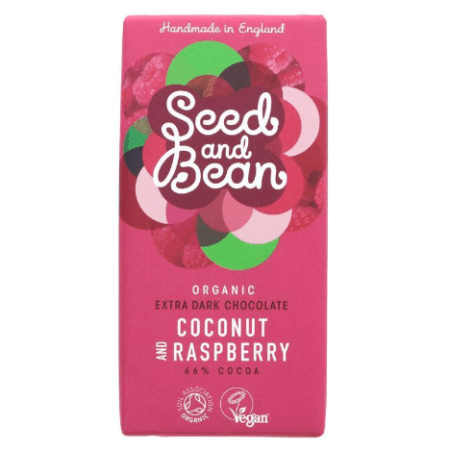 Image of the Seed and Bean Dark Chocolate Raspberry and Coconut bar