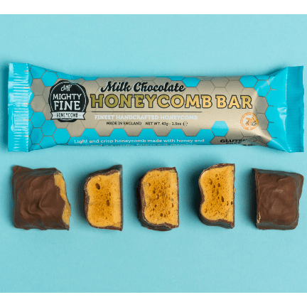 Image of the milk chocolate honeycomb bar from Mighty Fine