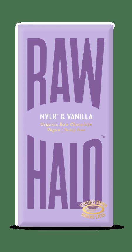 Image of a bar of mylk & vanilla raw halo