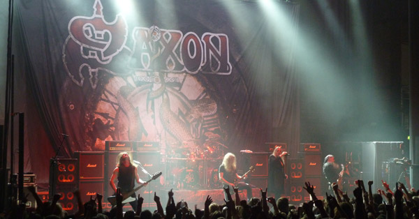 Saxon on stage at The Hammersmith Apollo, London, May 2012