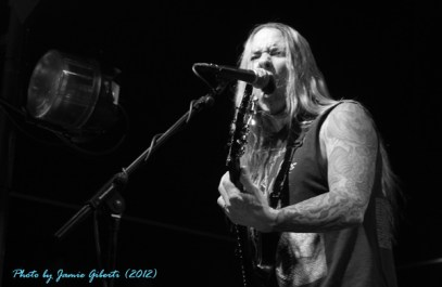 Fozzy guitarist Rich Ward on stage at London's Electric Ballroom December 2012