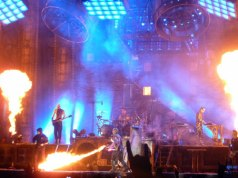 "Rammstein on stage at Download Festival 2013 with Till Lindemann ""cooking alive"" Keyboard player Flake"