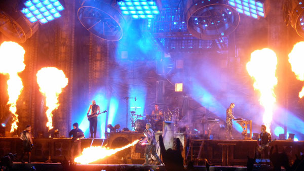 Rammstein on stage at Download Festival 2013 with Till Lindemann