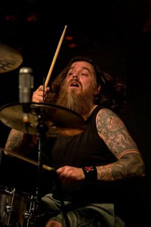 Orange Goblin's Chris Turner on stage at Portsmouth Pyramids, November 2013