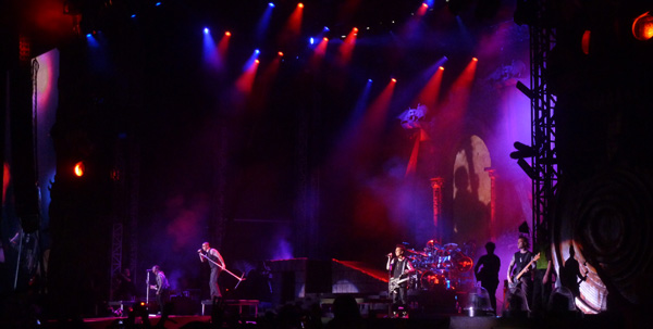 Avenged Sevenfold performing during their headline slot at Download Festival 2014
