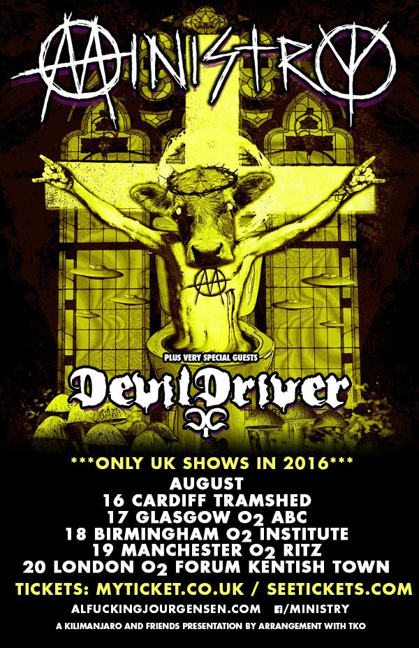 Ministry Devildriver August 2016 UK Tour Poster