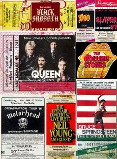 Collage Konzertkarten der 80er Jahre, Teil 1
