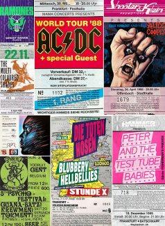 Collage Konzertkarten der 80er Jahre, Teil 2