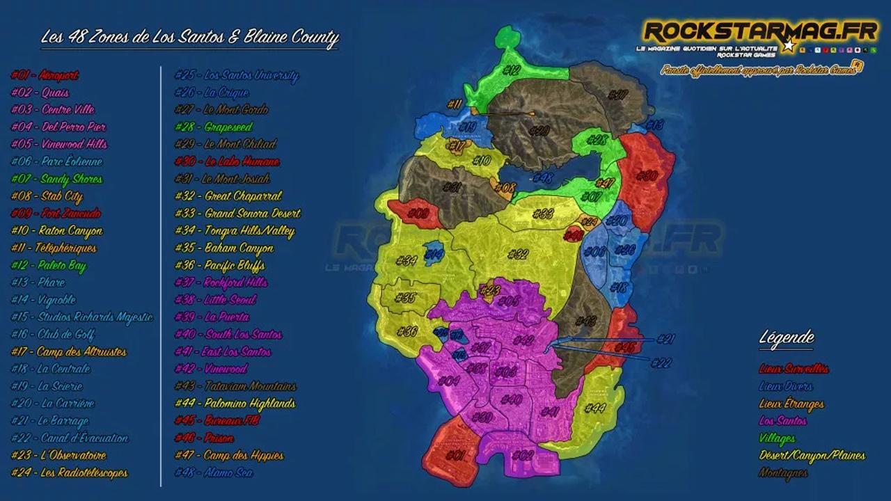 Myst 232 Re Gta V Map Des 48 Zones De Los Santos Et Blaine
