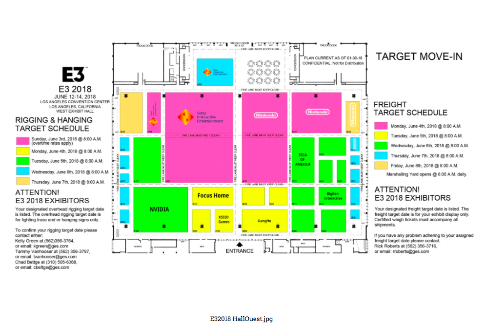 Convention Center Los Angeles - E3 2018 - Plan Hall Ouest