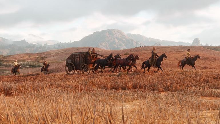Une calèche dans Red Dead Redemption II