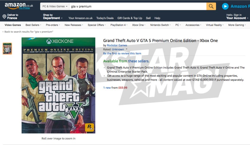 Annonce Amazon GTA V Premium Online Edition
