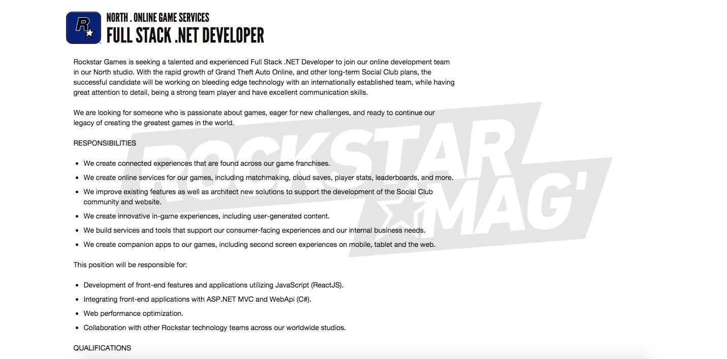 Offre Emploi Développeur Full Stack .NET Rockstar North