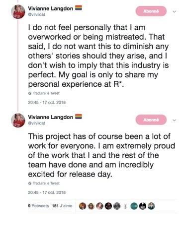 Tweet Vivianne Langdon Rockstar Games Employé