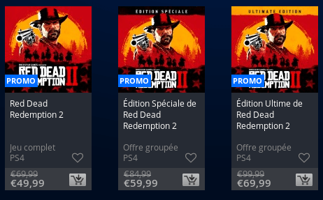 Offres du PlaYstation Store le 14 mars 2019 concernant Red Dead Redemption II