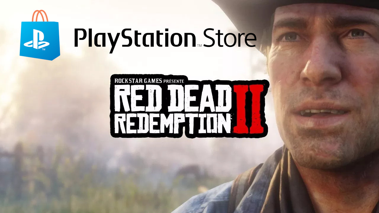 Image issue de la preview d'IGN montrant Arthur Morgan, le logo de Red Dead Redemption II et le logo PlayStation Store