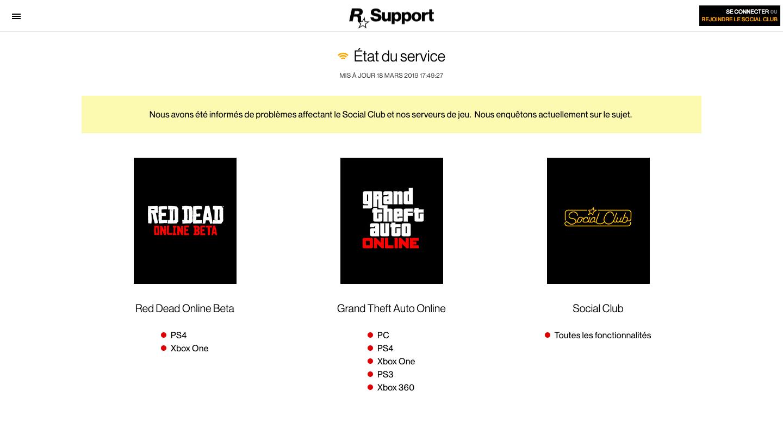 Panne Serveurs Rockstar Games