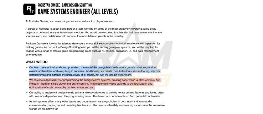 Offre d'Emploi Rockstar Dundee Jeu Open World Solo et Online
