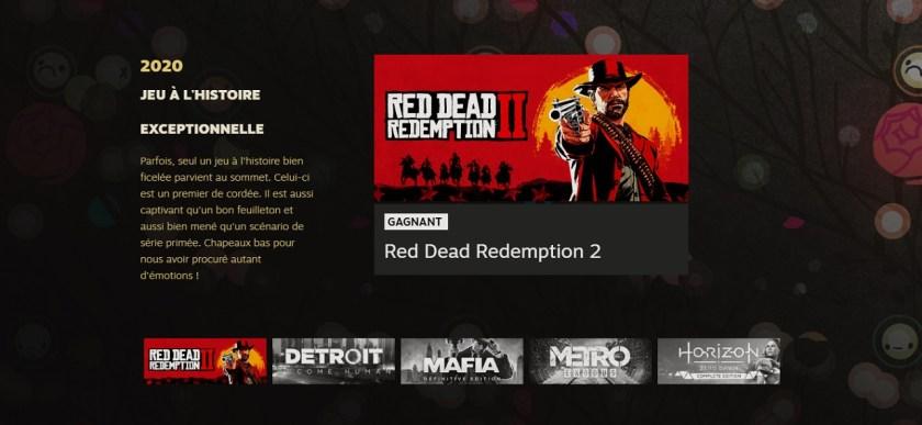 Red Dead Redemption II best scenario Steam Awards 2020