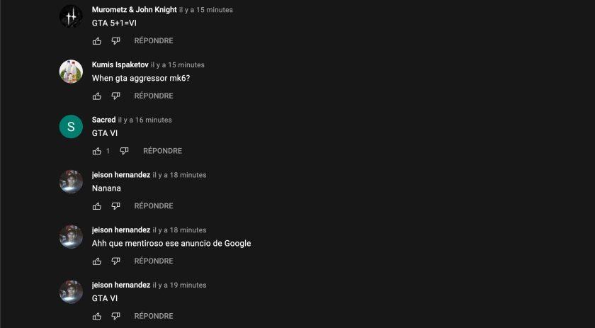 Spam de commentaires GTA VI